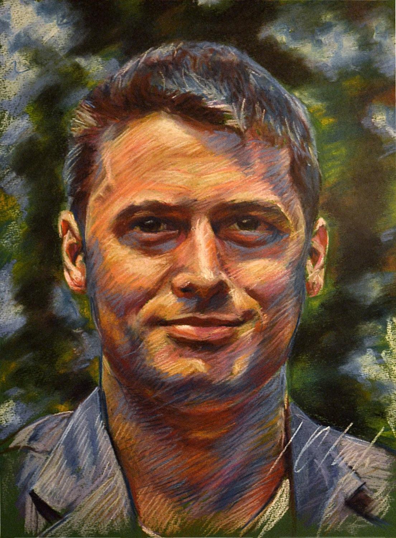 Aarón. Javier Olmedo, retrato realizado en pastel, 2012