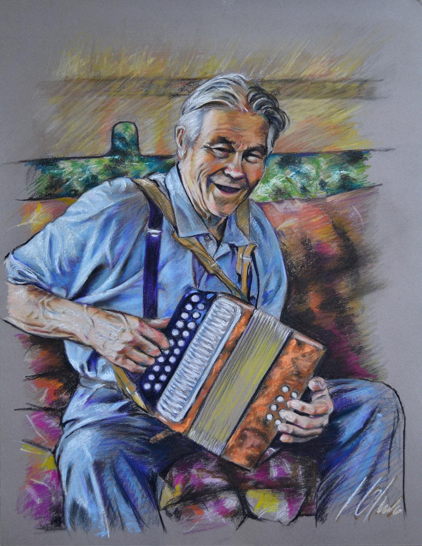 El abuelo de Asta. Javier Olmedo, retrato en pastel, 2012