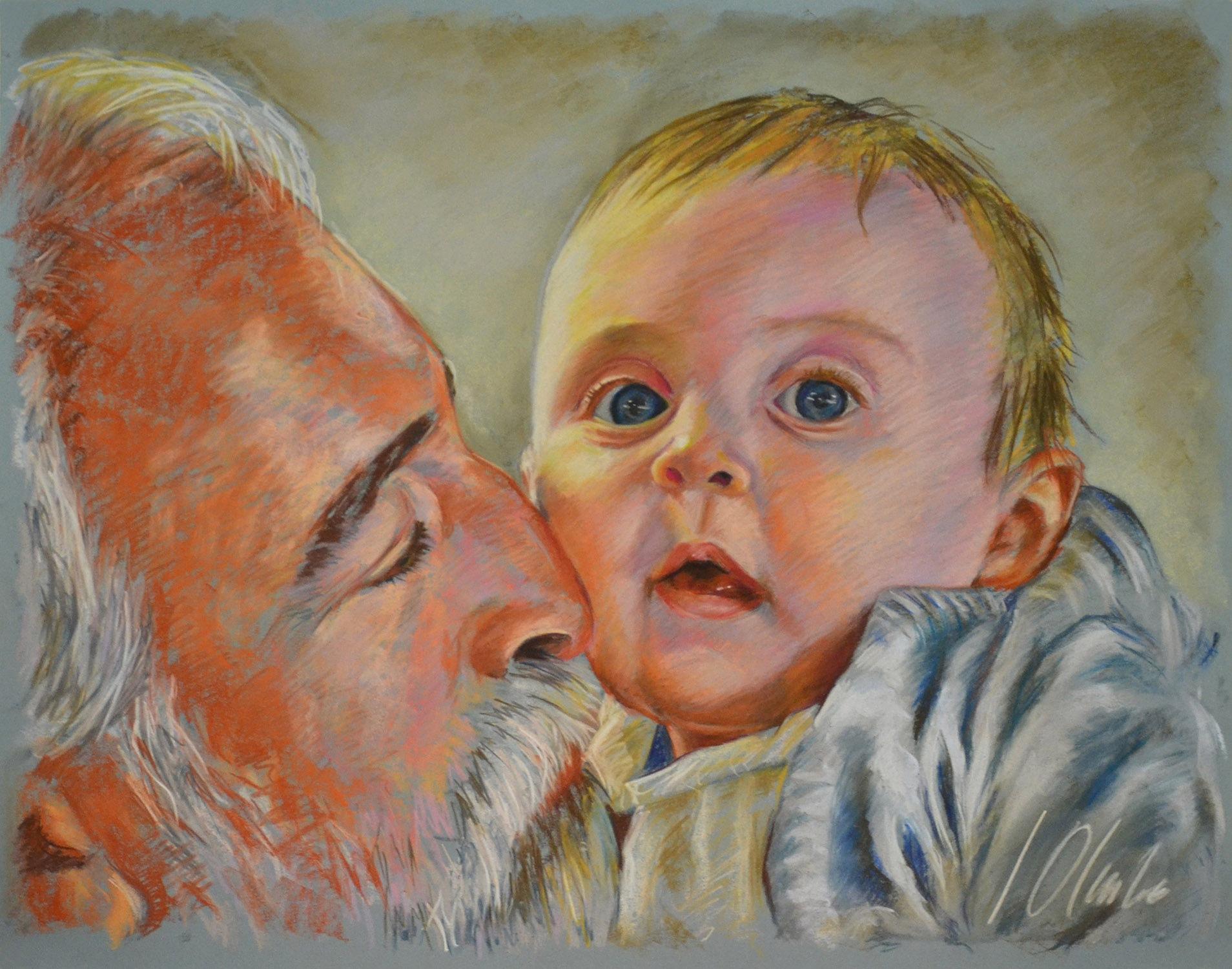 Alba y Carlos. Retratos en pastel, obra de Javier Olmedo, 2011
