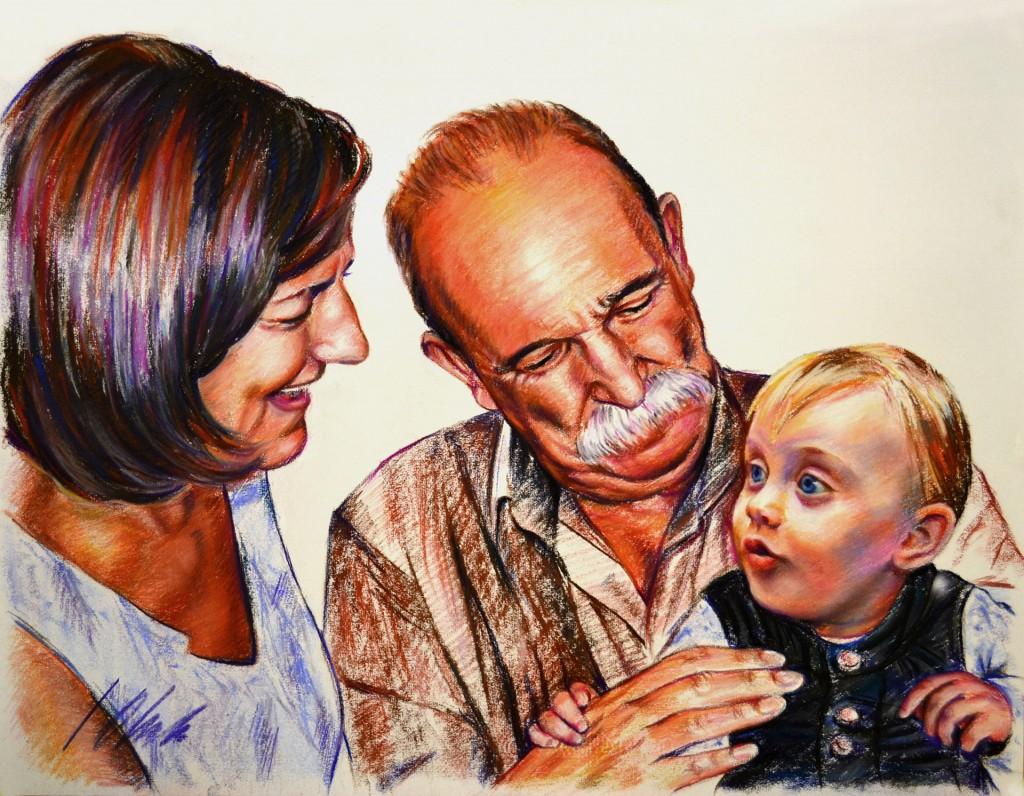 Alba con sus abuelos. Retratos en pastel, obra de Javier Olmedo, 2011