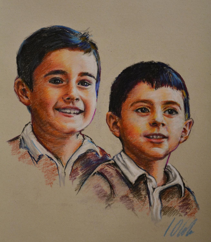 Andrés y Nacho. Retratos en pastel, obra de Javier Olmedo, 2011