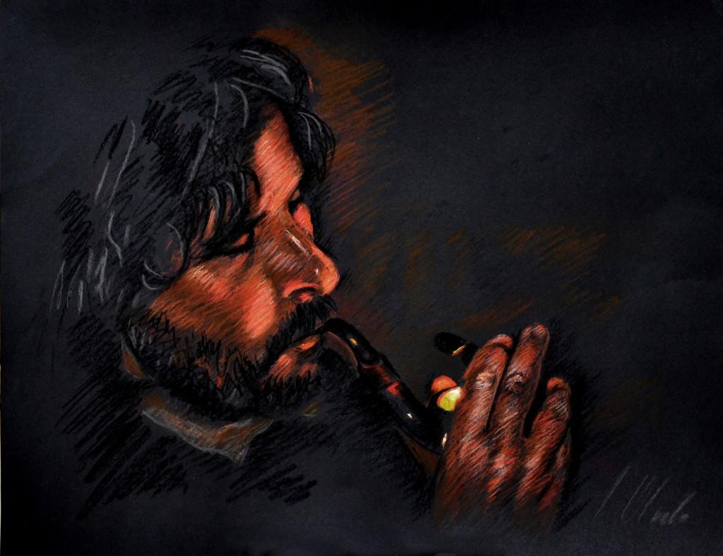 Autorretrato sobre fondo negro. Jvier Olmedo, Pastel, 2011
