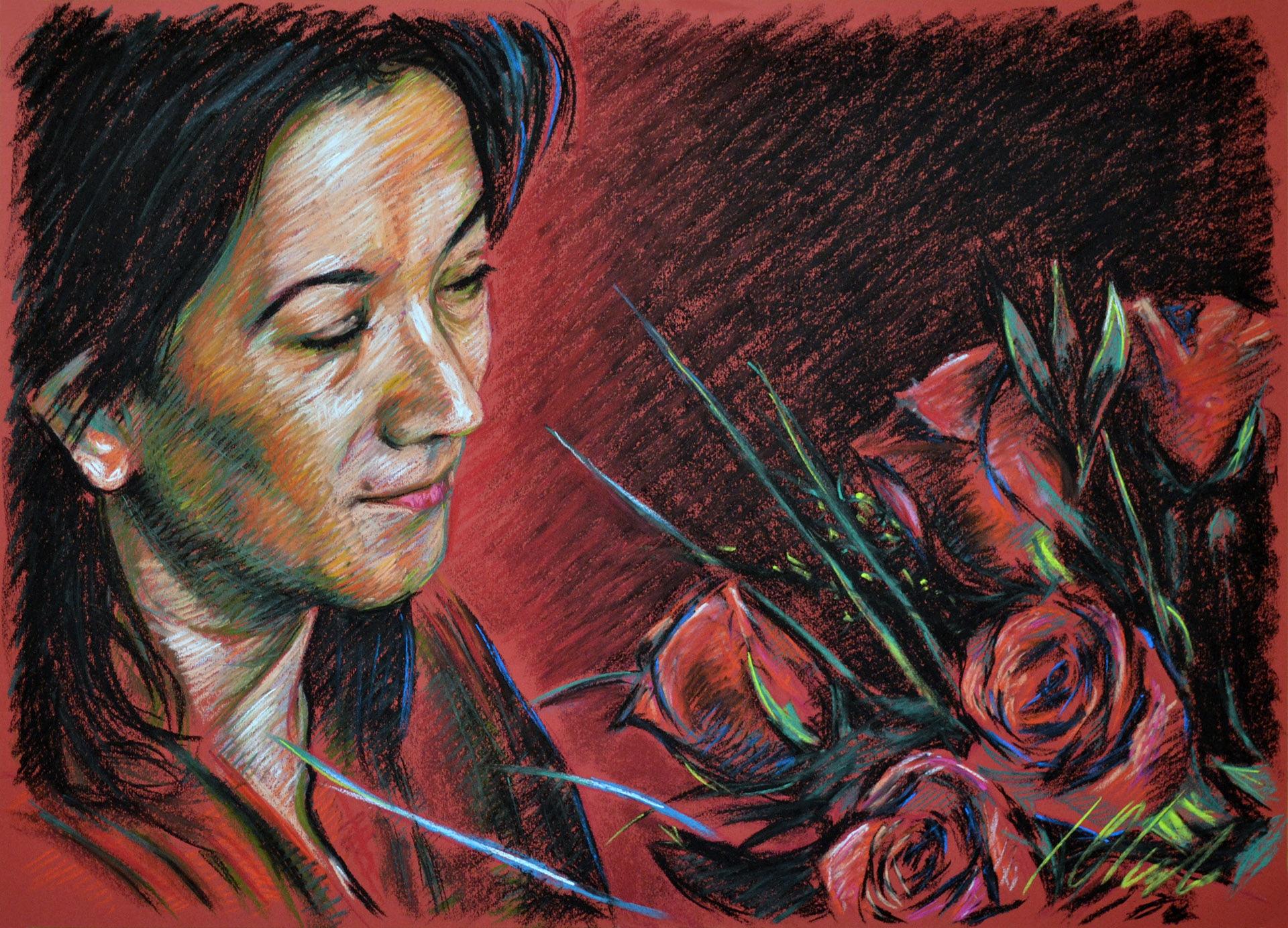 Boceto en rojo. Javier Olmedo, retrato en pastel, 2013