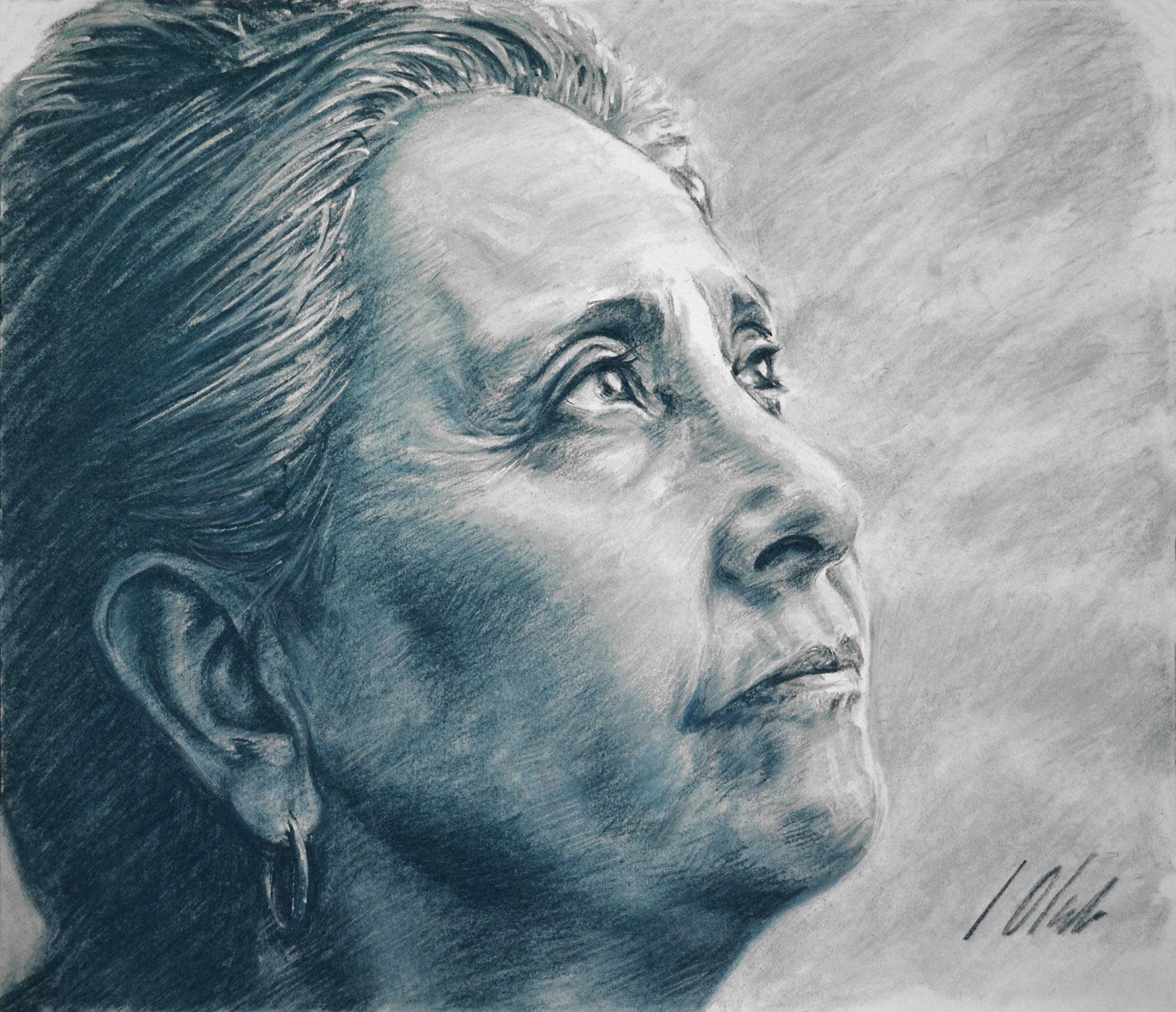 Empera. Retrato en pastel, obra de Javier Olmedo, 2012
