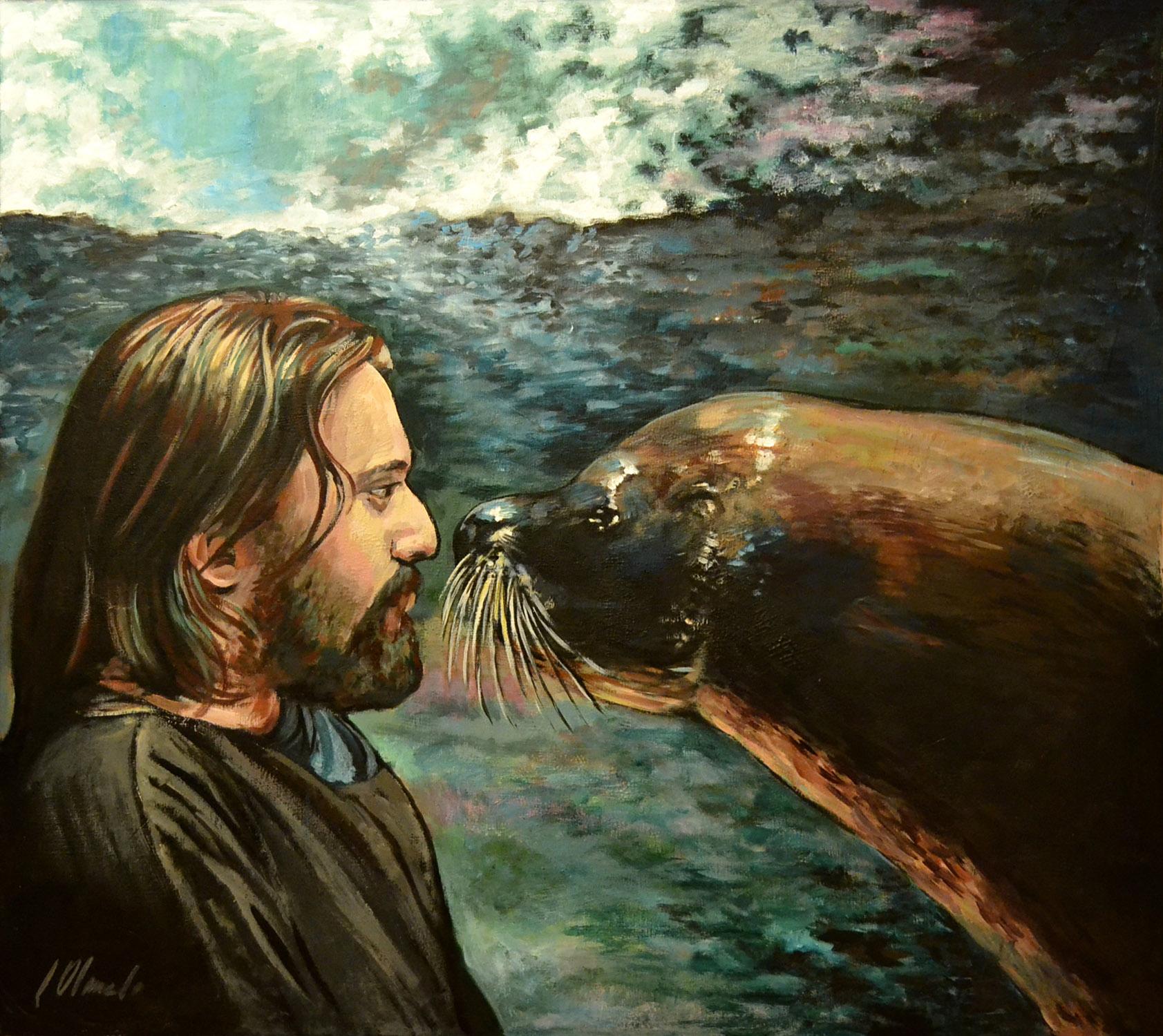 El beso de la foca, acrílico, Javier Olmedo. 2014