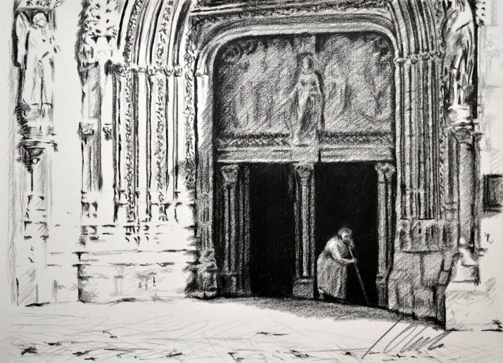 Iglesia de San Lesmes Abad, lápiz graso, 42 x 30 cm. Javier Olmedo. PV 49 €