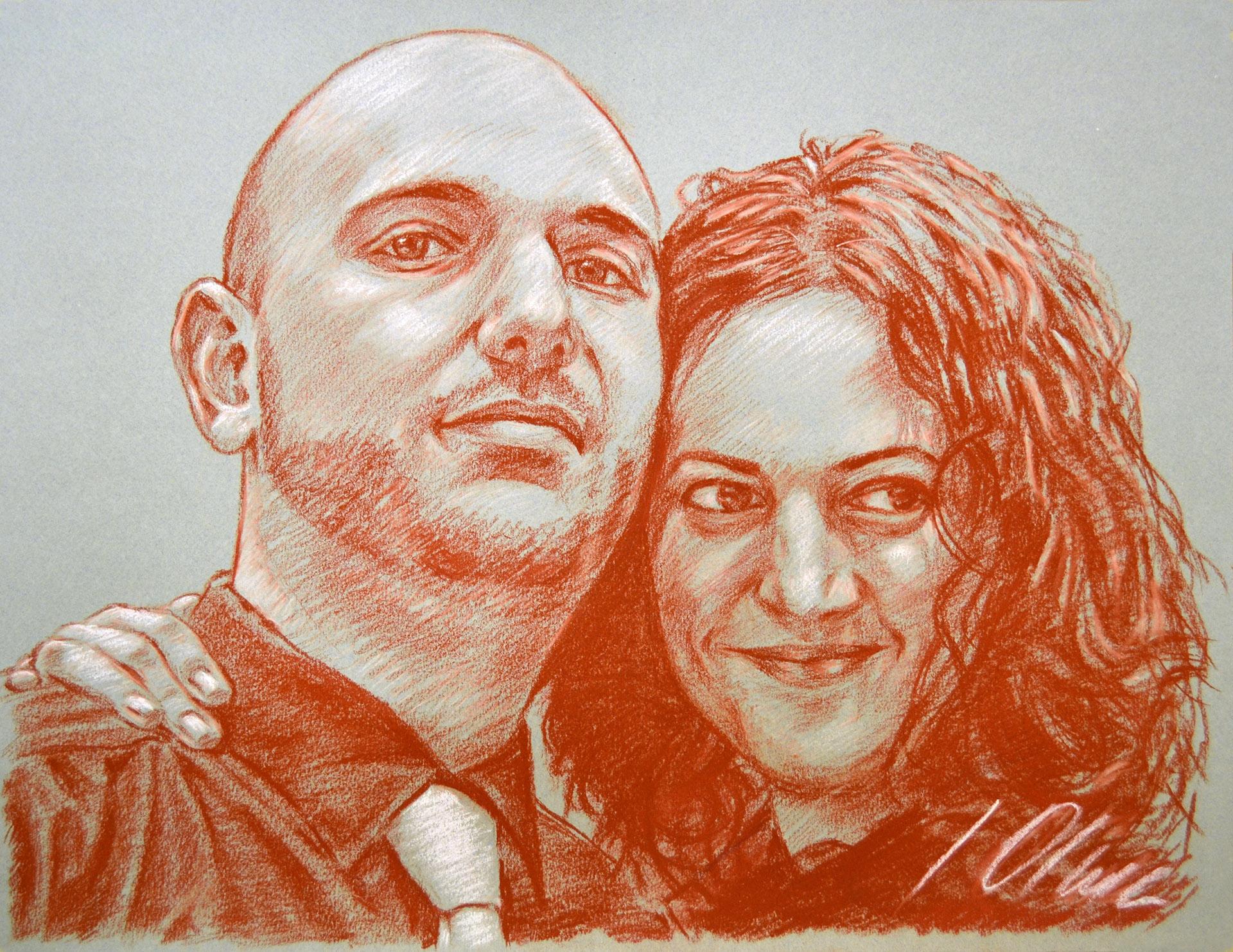 Isa y Mario. Sanguina, retratos, Javier Olmedo, 2011
