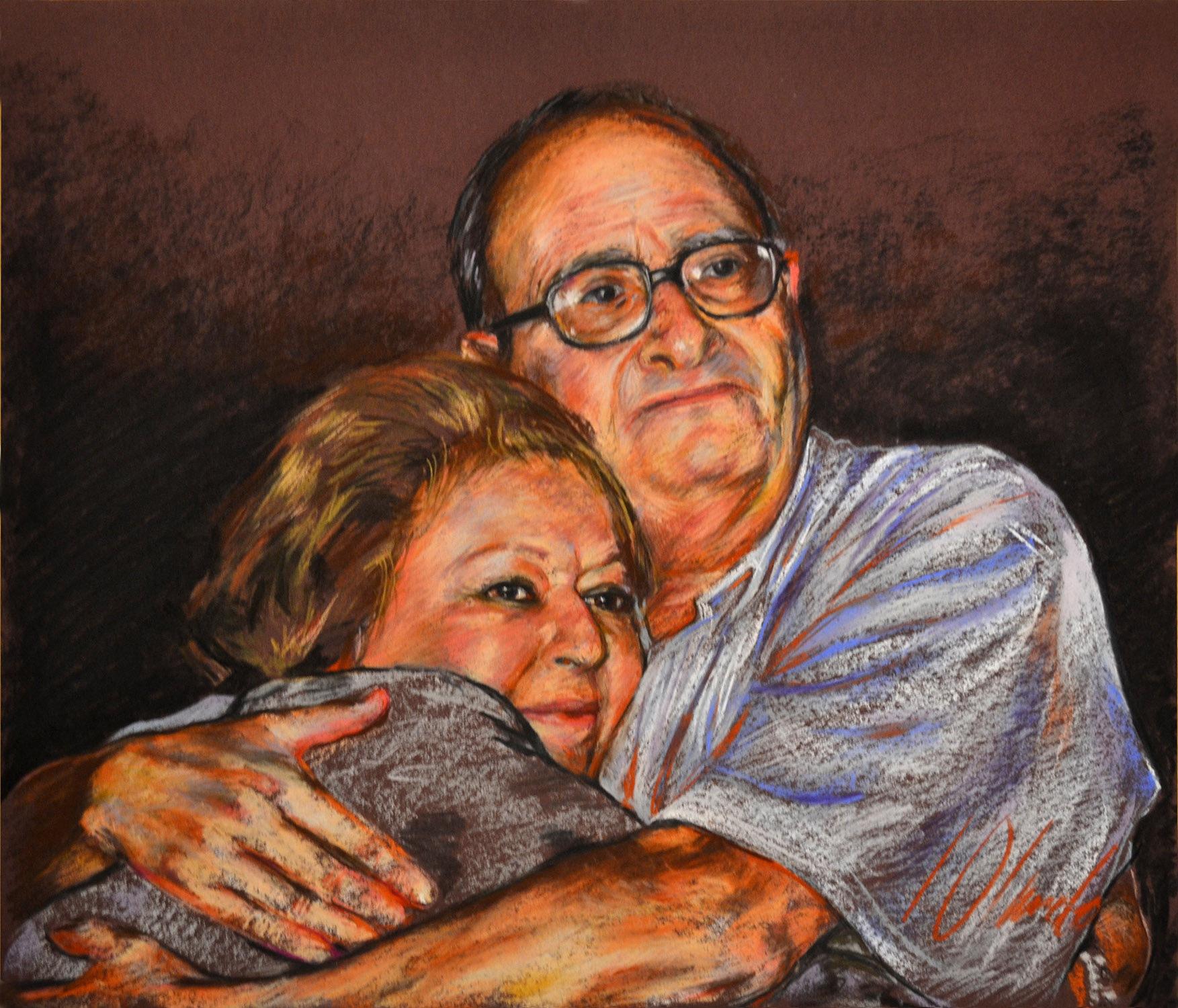 Jose y Concha. Retratos en pastel, obra de Javier Olmedo, 2012