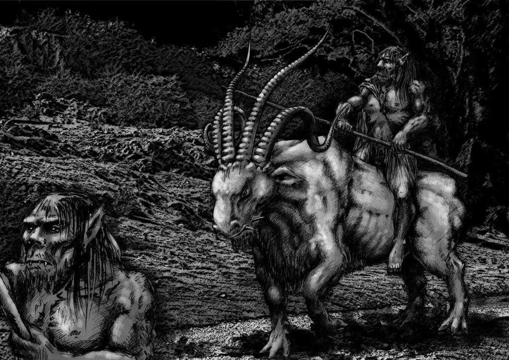 Ilustración a las Crónicas de Kangarast, grafito y retoque digital,  Javier Olmedo, 2014