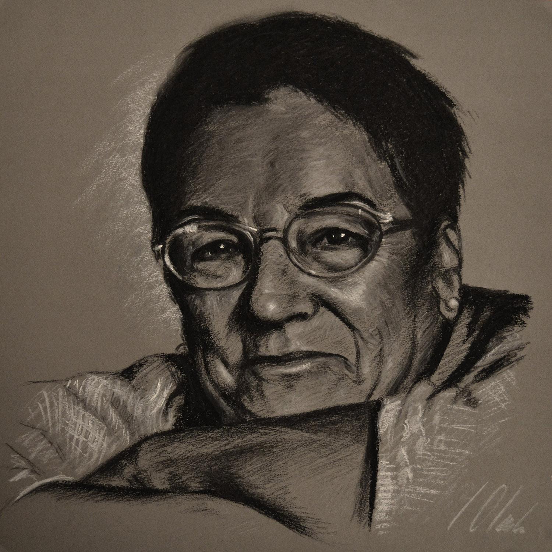 Maria Jesus. Javier Olmedo, retrato realizado en carboncillo y tiza, 2012