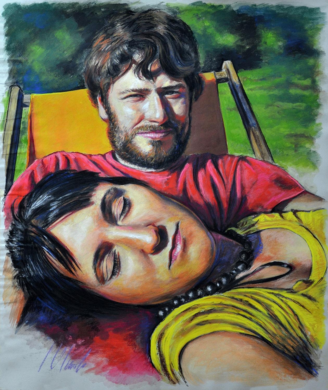 Mariana y Aaron. Javier Olmedo, retratos realizados al pastel. 2014