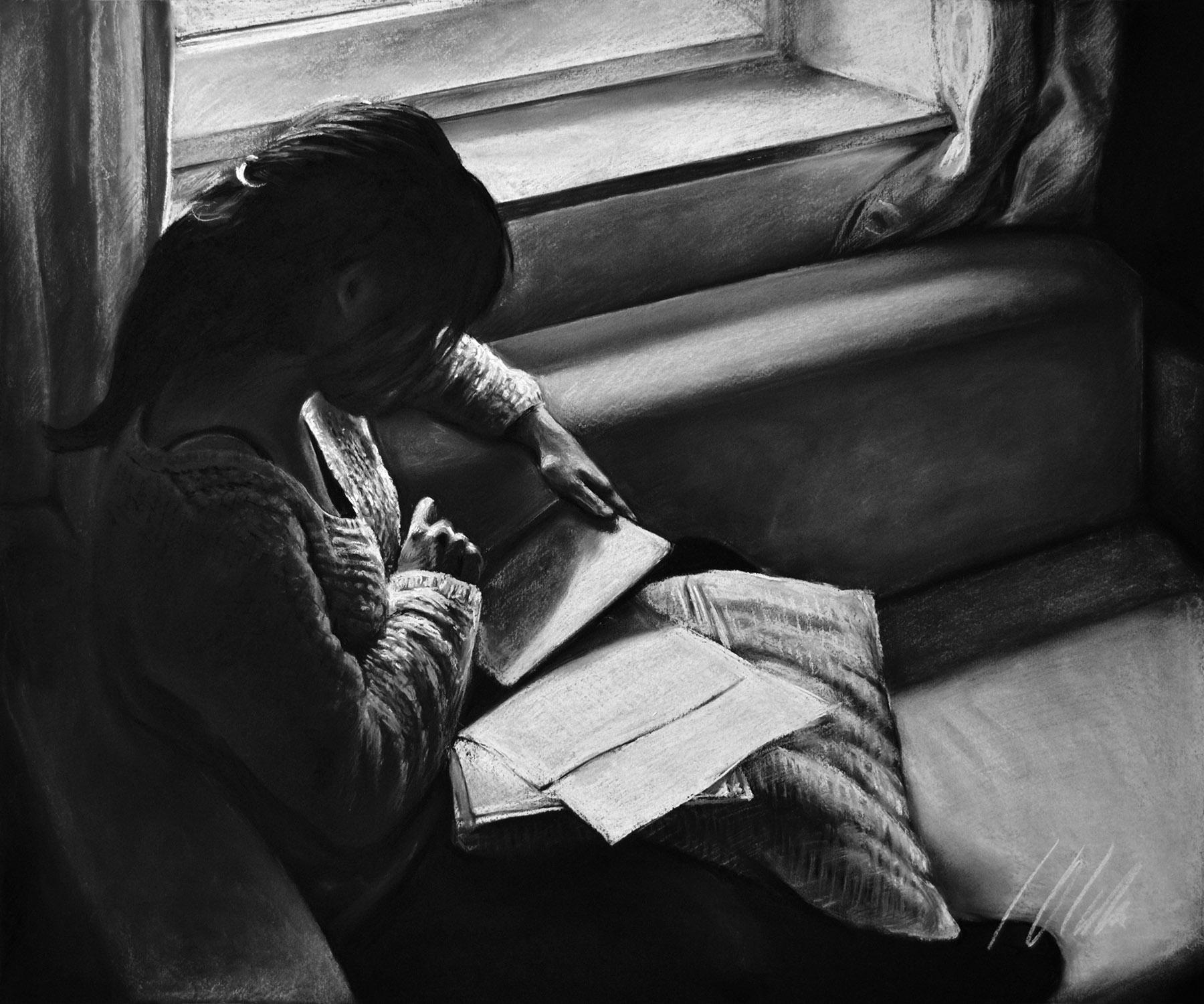 Junto a la ventana. Pastel, 60 x 50cm. Javier Olmedo, año 2015.