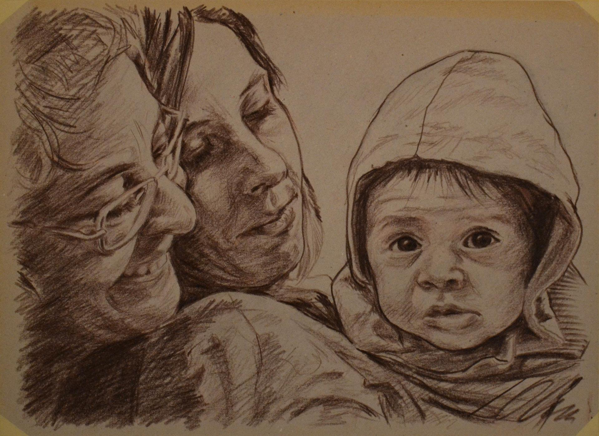Marimer, Adriana y Guille. Lápiz graso sobre cartón, Javier Olmedo, 2012