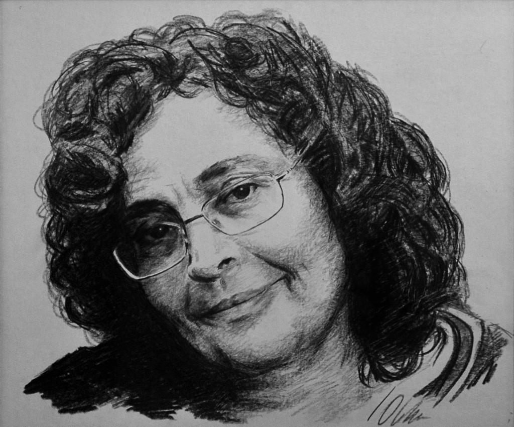 Marimer.Retrato, obra de Javier Olmedo, lápices grasos, 2008