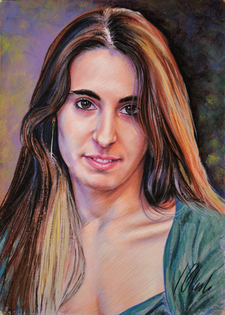 Miriam. Javier Olmedo, retrato en pastel, 70x50cm. 2013