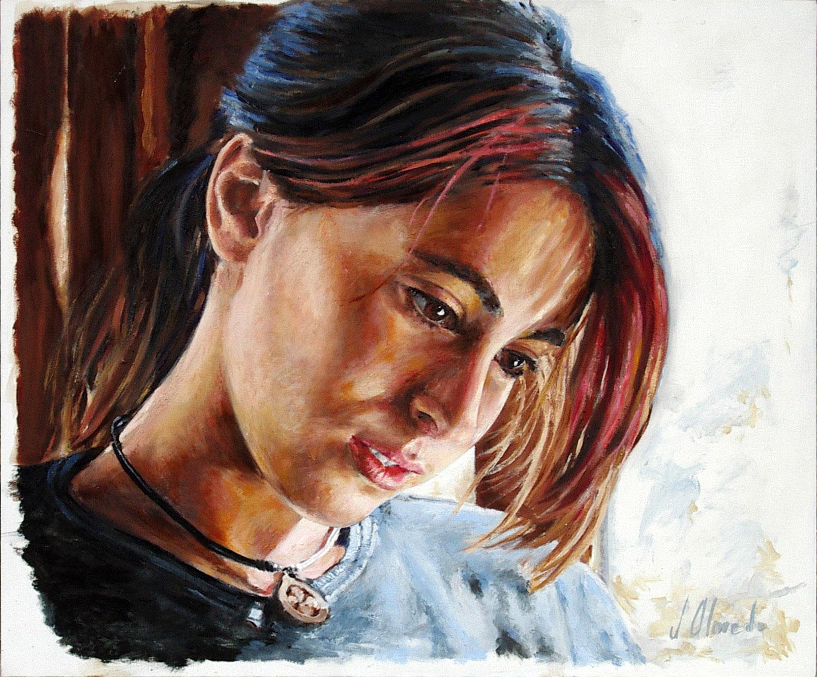 Miriam. Retrato en óleo sobre tabla, Javier Olmedo. 2010
