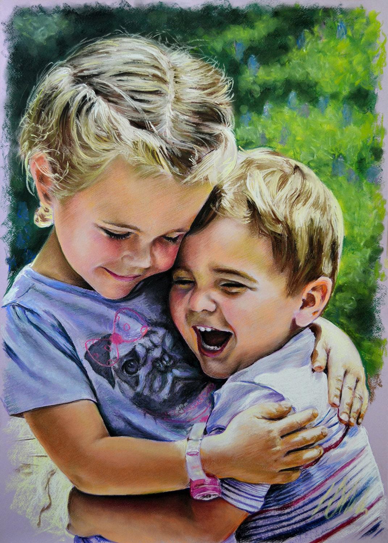 Niños de Jessica. Javier Olmedo, retratos en pastel. 2014