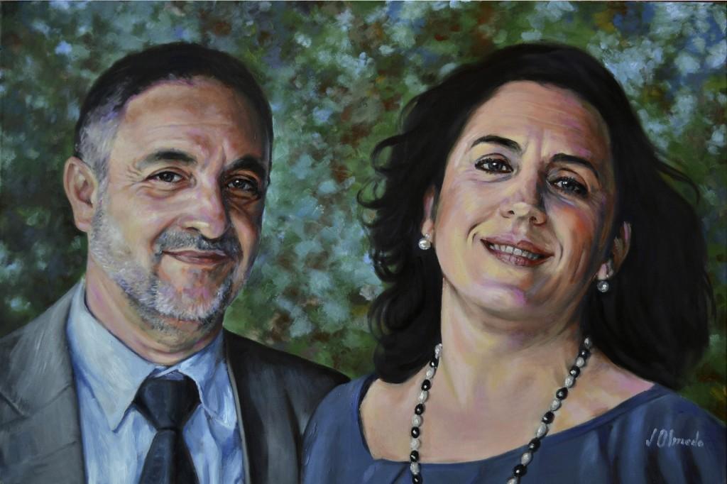 Oscar y Uxue. Óleo sobre lienzo, Javier Olmedo. 2012