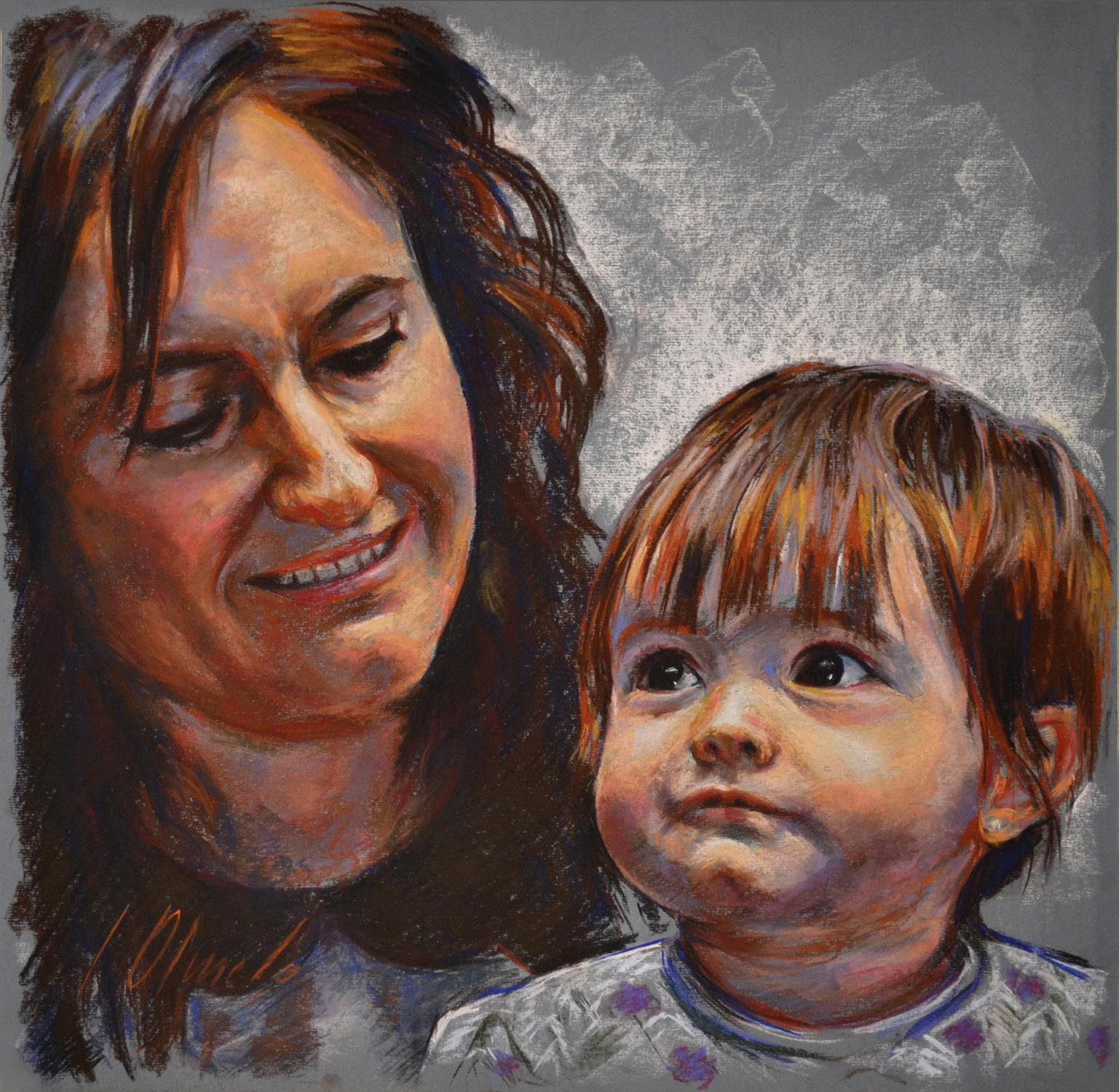 Paloma y Saioa. Javier Olmedo, retratos en pastel, 2012