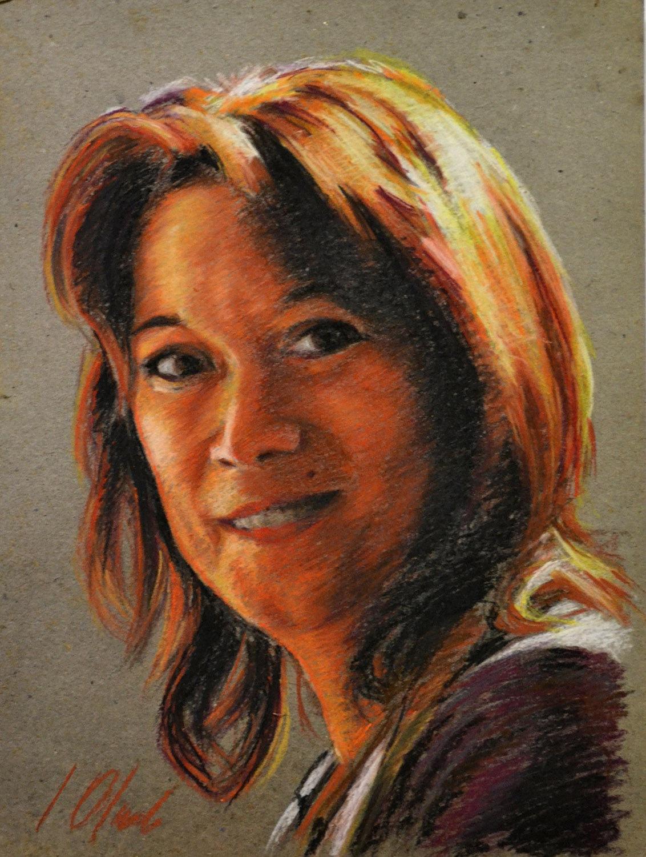 Pilar. Javier Olmedo, retrato de Pilar Aceña realizado al pastel, 2011