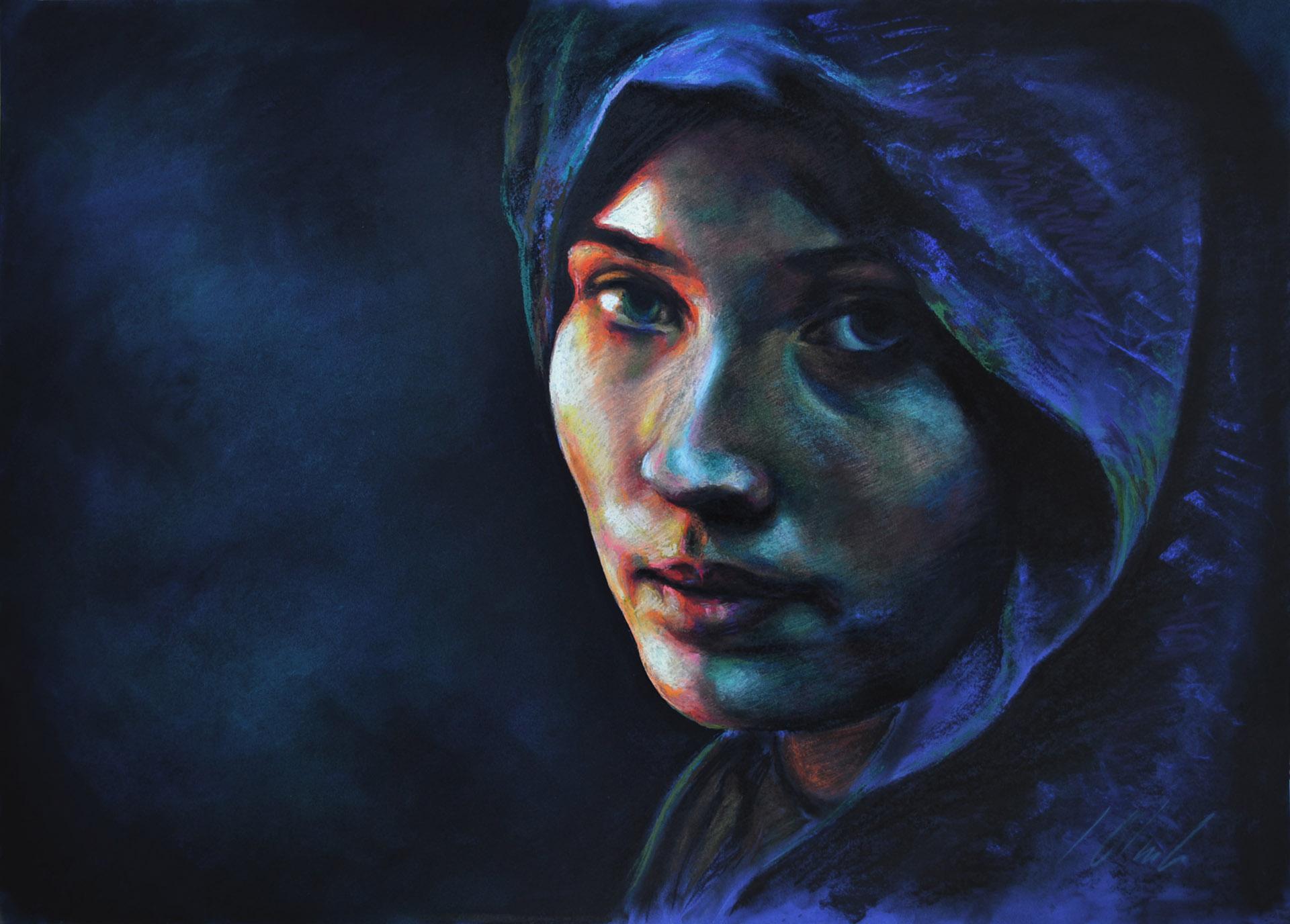 Retrato sobre fondo azul. Javier Olmedo. Pastel, 70 x 50cm. Año 2014. PV 150 €
