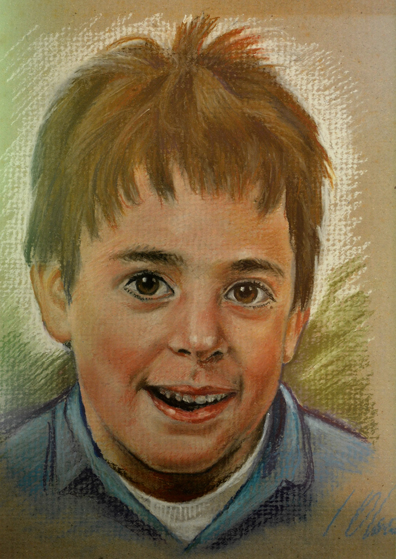 Samuel. Javier Olmedo, retrato de su hijo realizado al pastel, 1994