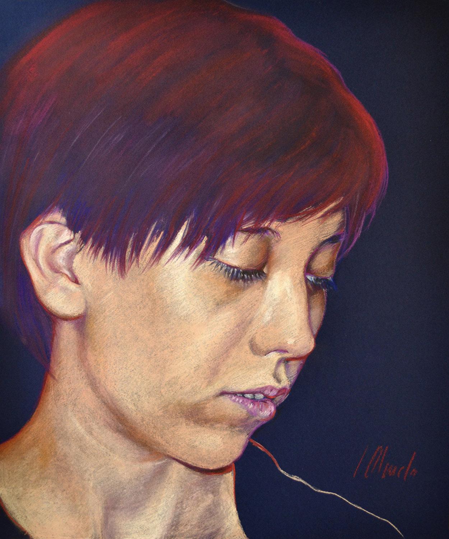 Sara. Javier Olmedo, retrato realizado en pastel, 2013
