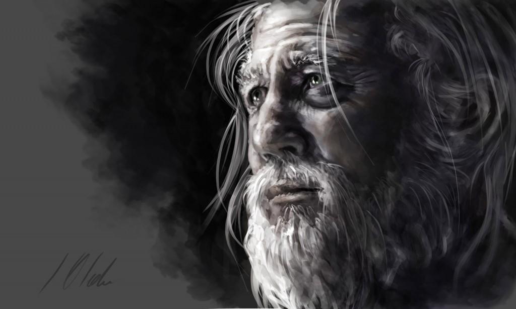 Viejo mago, tableta gráfica. Javier Olmedo, 2015