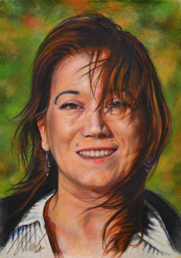 Viento. Javier Olmedo, retrato al pastel de Pilar Aceña, 2011