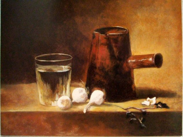 Bodegón de Chardin. Pilar Aceña, óleo sobre tabla. 2007