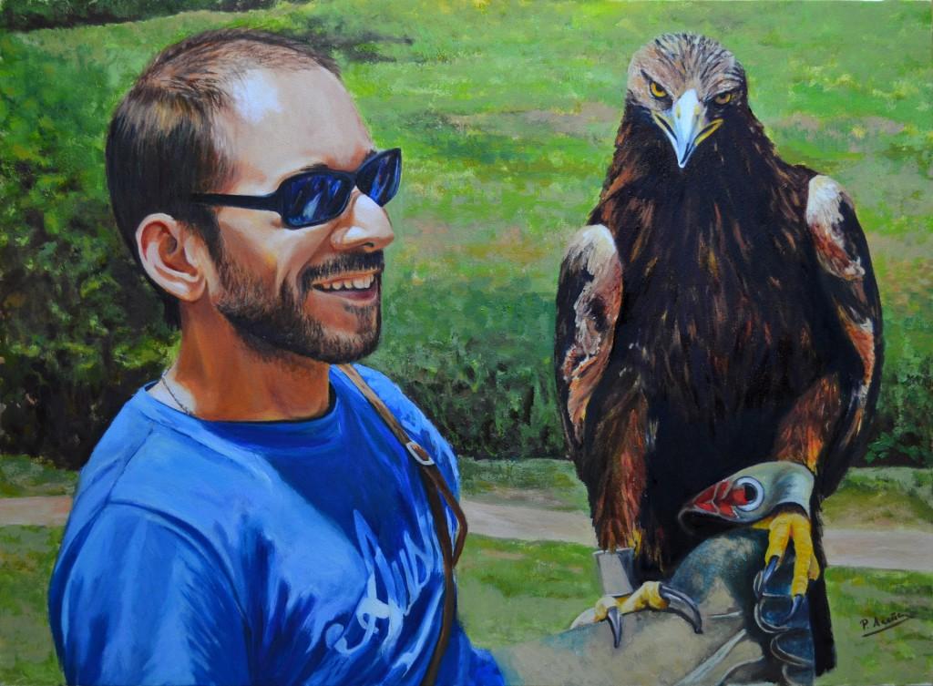 Carlos con un águila. Obra de Pilar Aceña, óleo sobre lienzo. 2014