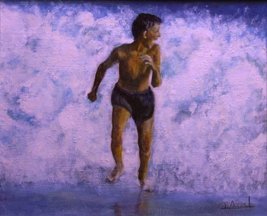 Corriendo en la playa. Pilar Aceña, acrílico. 2004