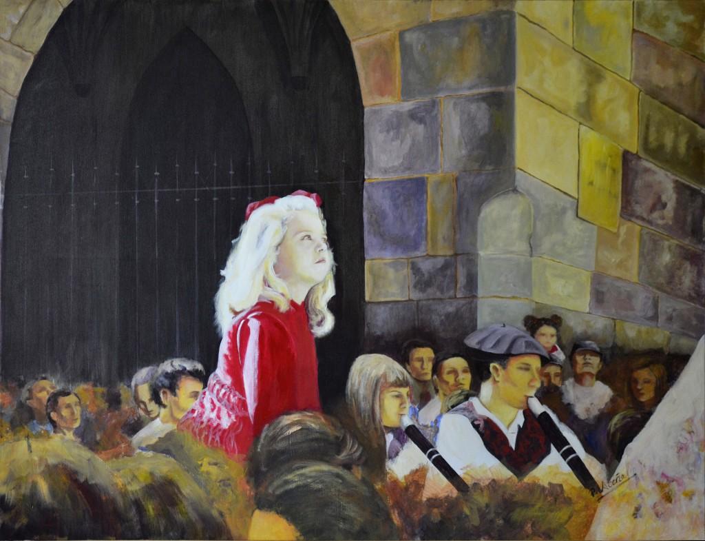 Embelesada con los gigantes. Pilar Aceña, acrílico. 2005