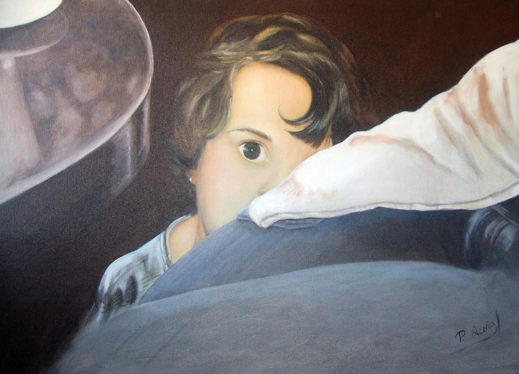 Hablando con un desconocido. Obra de Pilar Aceña, acrílico sobre lienzo. 2009