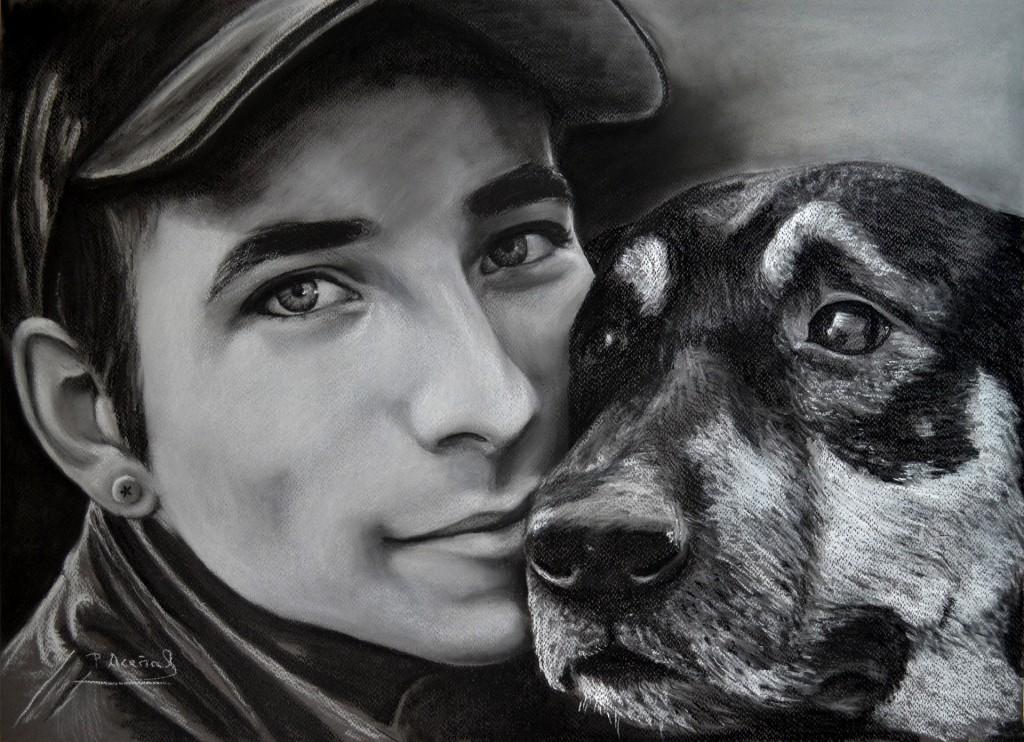 Jose y su perro. Obra de Pilar Aceña, carboncillo. 2013