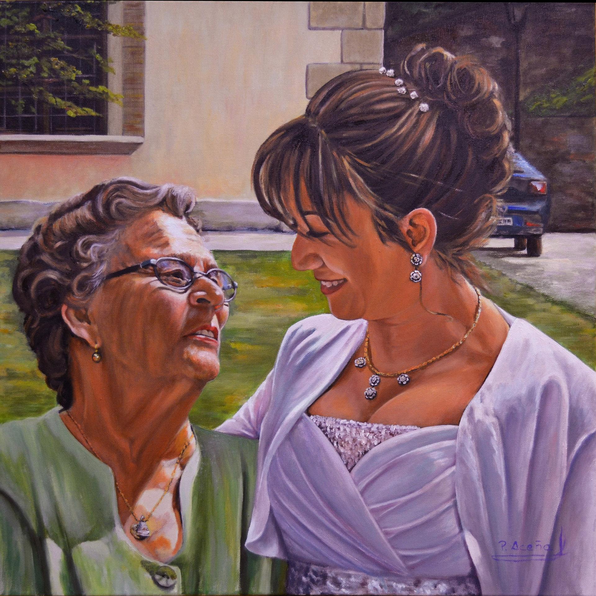 Mamá y yo. Obra de Pilar Aceña, óleo sobre lienzo, 60 x 60 cm. 2012