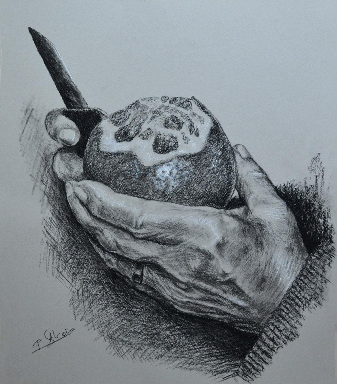Serie Manos II. Pilar Aceña, carboncillo, 40 x 35 cm. Año 2013