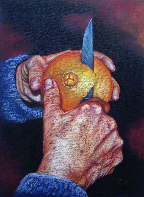 Serie Manos III. Pilar Aceña, pastel,  70 x 50 cm. Año 2015