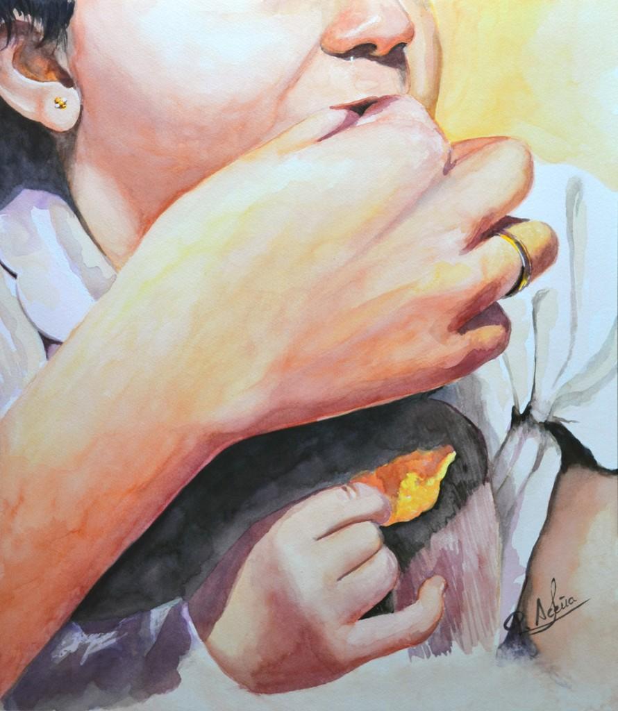 Serie Manos IV. Pilar Aceña, acuarela, 54 x 40 cm. Año 2014