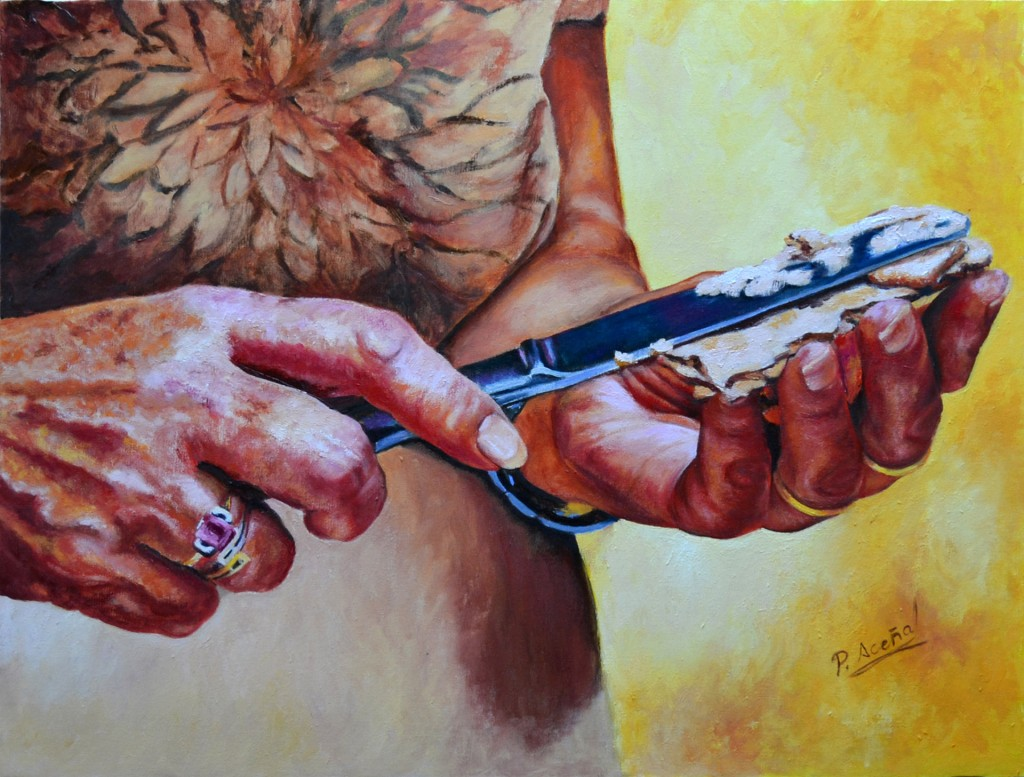 Serie Manos VI. Pilar Aceña, Óleo sobre lienzo, 61 x 46 cm. Año 2014