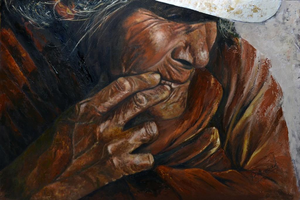 Serie Manos VIII. Pilar Aceña, óleo sobre lienzo, 92 x 60 cm. 2016