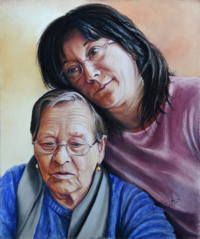 Mi madre y yo. Obra de Pilar Aceña, técnica mixta sobre lienzo. 2015