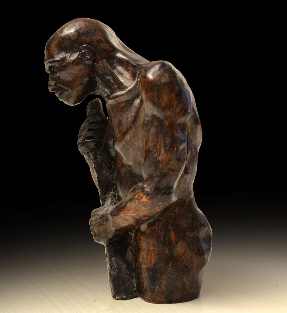 Neandertal, Arcilla, 12 x 6cm, Javier Olmedo. año 2000