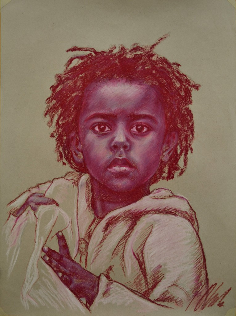 Retrato en sanguina, obra de Javier Olmedo, 2011