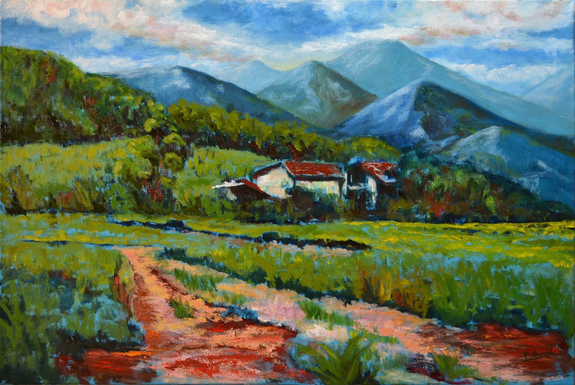 Paisaje sobre azul. Pilar Aceña, óleo sobre lienzo.  90 x 60cm. Año 2015