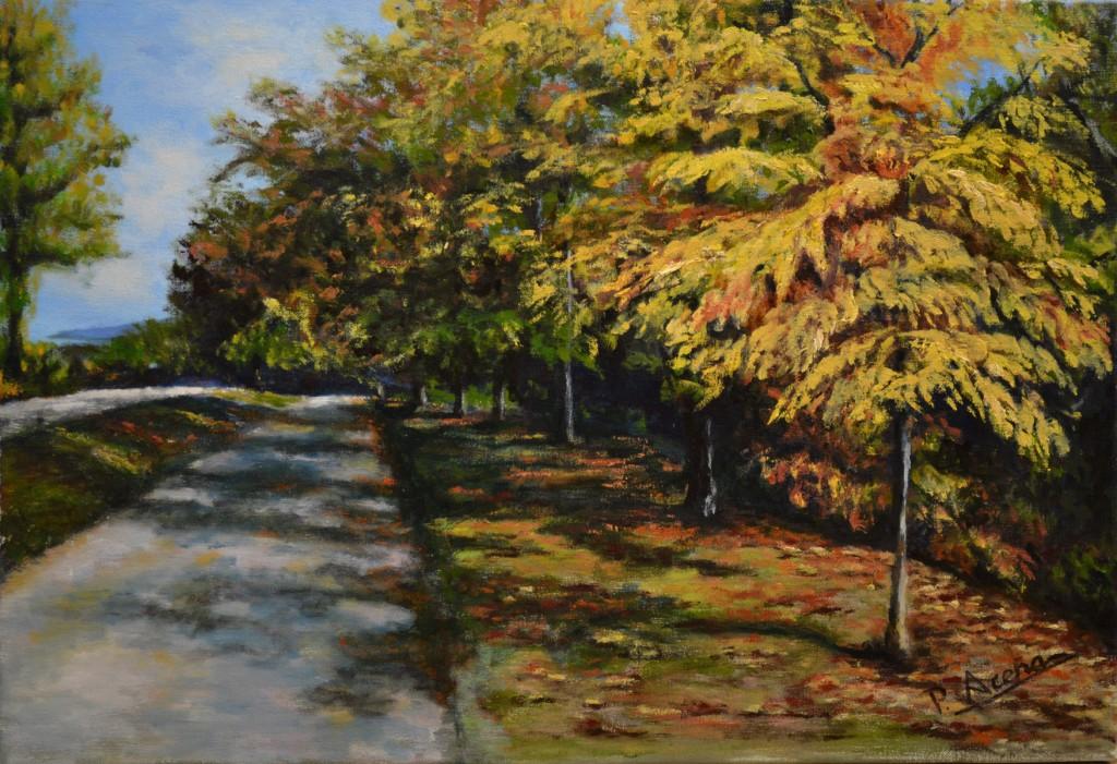 Paseo del Arga. Pilar Aceña, óleo sobre lienzo, 55 x 39cm. Año 2012. PV 230 €