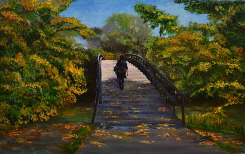 Puente sobre el Arga. Pilar Aceña, óleo sobre lienzo. 2011