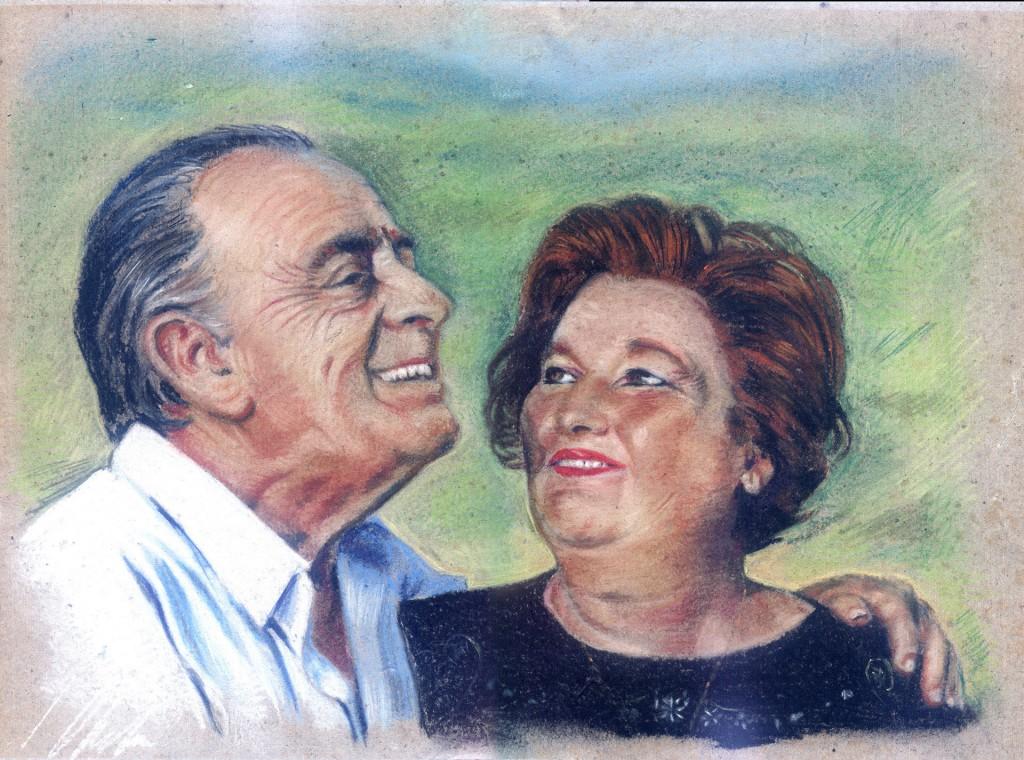 Abuelos. Javier Olmedo, pastel, retrato de sus padres, 2000