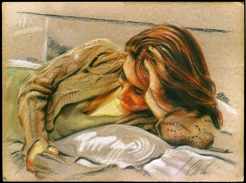 Retrato en verde rojo y amarillo . Javier Olmedo, retrato en pastel, 2008