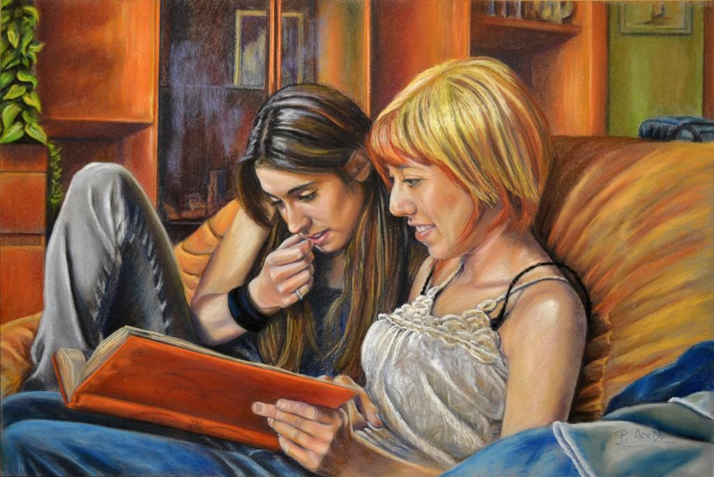 Sara y Miriam, obra de Pilar Aceña, pastel 70 x 50 cm. 2012